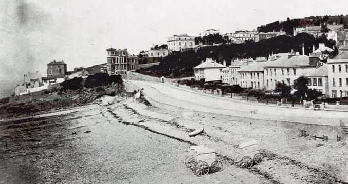 Clevedon beach and bathing machines 1864